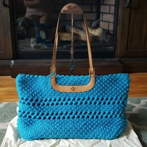 TORY BURCH Blue Woven Tote Bag